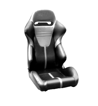 SPORT ECO-LEATHER SEATS - PAIR BLACK-GREY