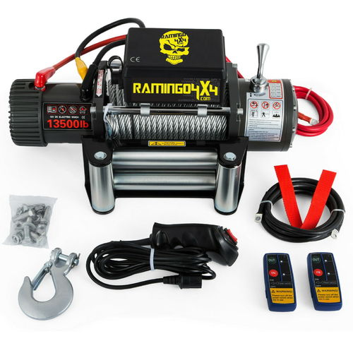 RAMINGO4X4 - CLASSIC 13500 WIRE ROPE ELECTRIC WINCH -12V